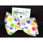 White / Gumball Dots Bow - 5 inch