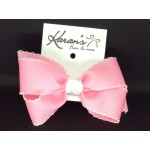 150 Pink / White Pico Stitch Bow - 5 Inch
