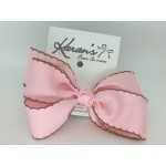 Light Pink / Brown Pico Stitch Grosgrain Bows - 5 Inch