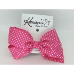 Shocking Pink Swiss Dots Bow - 5 inch