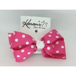 Shocking Pink Polka Dots Bow - 5 inch