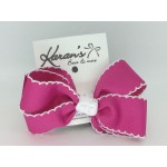 Azalea / White  Pico Stitch Bow - 4 Inch