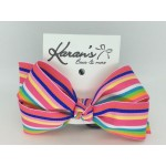 Shocking Pink Stripes Bow - 4 inch