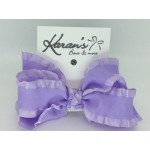 Light Lavender Double Ruffle Bow - 4 Inch