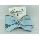 312 Blue / Brown Pico Stitch Bow - 5 Inch