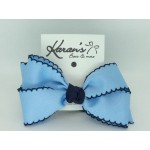 312 Blue / Dark Navy Pico Stitch Bow - 4 Inch