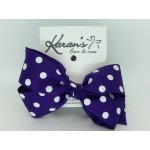 Purple Polka Dots Bow - 5 inch