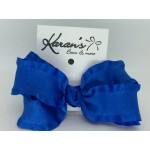 Century Blue Double Ruffle Bow - 4 Inch