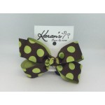 Brown / Lime Juice Dots Grosgrain Bow - 4 Inch