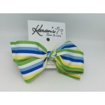 Apple Green Stripe Bow - 4 Inch