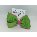Apple Green / Shocking Pink Pico Stitch Bow - 4 Inch