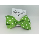 Apple Green Polka Dots Bow - 4 Inch