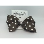 Brown Polka Dots Bow - 4 Inch