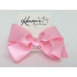Hot Pink Swiss Dots Grosgrain Bow - 5 Inch
