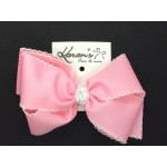 150 Pink / White Pico Stitch Bow - 6 Inch
