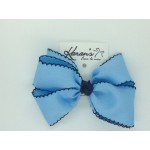 312 Blue / Dark Navy Pico Stitch Bow - 7 Inch