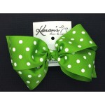 Apple Green Polka Dots Bow - 6 Inch